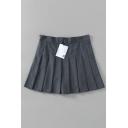 Casual Fancy High Waist Zipper Side Plain Mini Pleated A-Line Skirt for Girls