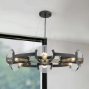6 Heads Circular Chandelier Lighting Modernist Metal Hanging Light Fixture in Black