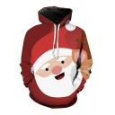 Simple Cartoon Santa Claus 3D Pattern Red Long Sleeved Pullover Hoodie