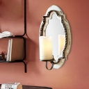1 Light Wall Mounted Lighting Traditional Style Cylinder Opal Glass Vanity Sconce Light in Black/Blue for Bedroom