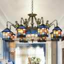 Cut Glass House Chandelier Lamp Mediterranean 3/5/9 Bulbs Blue Down Lighting Pendant for Bedroom