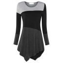 Female Casual Basic Long Sleeve Round Neck Contrasted Asymmetric Hem Relaxed Tee