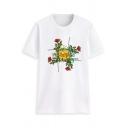 Womens Stylish Rose Letter Printed Short Sleeves Crewneck Summer T-Shirt