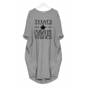 Simple Letter THAT'S WHAT I DO Coffee Printed Round Neck Loose Longline T-Shirt Midi Dress