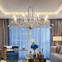 6/8 Lights Crystal Ceiling Chandelier Traditional Silver Candle-Style Living Room Pendant Lamp