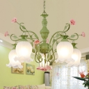 Countryside Flower Hanging Pendant 5 Heads Opal Glass Chandelier Lighting Fixture in White/Green for Living Room