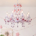 Countryside Candlestick Hanging Pendant 6/8 Heads Crystal Chandelier Lighting Fixture in White for Bedroom