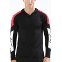 Men's Active Colorblock Letter Panel Long Sleeves Stretch Fit Casual Sports Hoodie