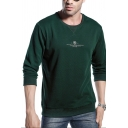 Men's Casual Letter Logo Printed Long Sleeves Round Neck Pullover Sweatshirt