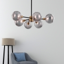 6 Bulbs Living Room Hanging Chandelier Modern Brass Pendant Light Kit with Orb Smoke Glass Shade