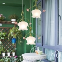 Green Floral Multi Light Pendant Traditional Ivory Glass 3 Heads Restaurant Down Lighting with Metal Round/Linear Canopy
