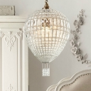 3 Lights Chandelier Light Fixture Traditional Beaded Metal Suspension Lamp in Silver for Bedroom