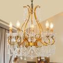 Curved Arm Living Room Chandelier Lamp Crystal Rustic 5 Lights Gold Pendant Ceiling Light