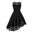 Fancy Girls' Sleeveless Crew Neck Lace Trip Patched Asymmetric Plain Mid Pleated Flared Dress