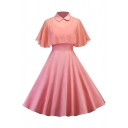 Girls' Formal Plain Short Sleeve Lapel Neck Pearl Button Cut Out Long Pleated Swing Dress with Cape