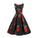 Vintage Women's Sleeveless Crew Neck All Over Floral Bow Tie Back Pleated Flared Dress
