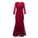 Women's Formal Long Sleeve V-Neck Button Front Zipper Back Lace Plain Maxi Pleated Bodycon Fishtail Dress