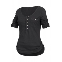 Women's Basic Casual Plain Roll Up Sleeve Round Neck Button Decoration Flap Pocket Curve Hem Fitted Tee