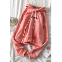 Casual Girls' Long Sleeve Drawstring Letter AME Print Loose Hoodie