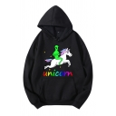 Men's Creative Alien and Unicorn Printed Long Sleeve Graphic Hoodie with Pocket