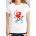 Fancy Octopus and Bicycle Pattern Short Sleeve Crewneck White Leisure Tee