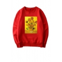 Famous Oil Painting Sunflower Print Long Sleeves Crewneck Loose Fit Casual Sweatshirt