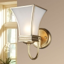 Traditional Flared Sconce Light 1/2-Bulb Brass Metal Wall Lighting Fixture for Living Room