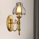 1-Head Wall Light Traditionalism Scallop Metal Wall Sconce Lighting in Brass for Living Room
