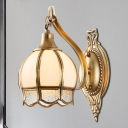 Brass Flower Wall Lamp Traditionalist Metal 1/2 Lights Living Room Wall Mount Lighting