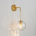 Dimple Sphere Glass Wall Sconce Simplicity 1-Light Brass Finish Wall Light Fixture