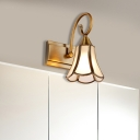 Brass Flower Vanity Light Traditionalism Metal 1/2/3 Bulbs Bathroom Wall Lighting Fixture