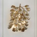 Bronze 3 Lights Wall Lighting Fixture Vintage Stylish Aluminum Leaf Shape Wall Sconce for Living Room