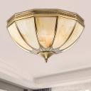 4 Lights Flush Ceiling Light Vintage Inverted Frosted Glass Flush Mount Lighting in Gold for Living Room