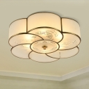 Brass Flower Flush Mount Lighting Traditional Curved Frosted Glass 3/4 Lights Bedroom Ceiling Fixture