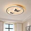 Acrylic Butterfly Flush Mount Fixture Contemporary Brown LED Ceiling Light in Remote Control Stepless Dimming/White/Warm Light, 18.5