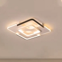 Black-White Square Ceiling Lighting Contemporary Acrylic 16