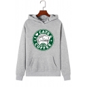 Creative CAT COFFEE Letter Print Long Sleeve Kangaroo Pocket Graphic Pullover Hoodie