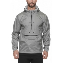 Mens Outdoor Training Plain Long Sleeve Half Zip Placket Quick Drying Hooded Track Jacket
