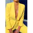 Yellow Vintage Shawl Collar Long Sleeve Suit Blazer with Loose Zipper Pants Two Piece Set