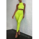 Female Sexy Fashion Whole Colored Sleeveless Crop Tank & Skinny Pants Two Piece Fitness Set
