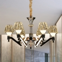 Modern Cone Chandelier Light Fixture Crystal 6 Lights Living Room Suspension Lighting in Chrome
