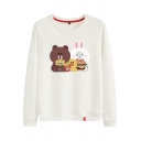 Cute Casual Long Sleeve Round Neck Brown and Cony Patterned Loose Fit Pullover Sweatshirt for Girls