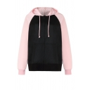 Street Style Color Block Long Sleeve Zip Up Loose Fit Drawstring Hoodie for Women