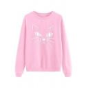 Cute Girls' Long Sleeve Round Neck Kitty Printed Baggy Daily Pullover Sweatshirt