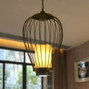 Black Teardrop Cage Pendant Light Traditional 14