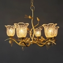 Frosted Glass Petal Chandelier Light Lodge Stylish 6/8 Heads Golden Hanging Lighting for Dining Room