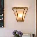 Gold Finish 1 Bulb Sconce Light Vintage Brass Flared Wall Mounted Lamp with Frosted Glass Shade