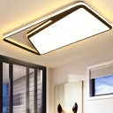 Rectangle Metal Ceiling Light Fixture Modernism Black/White LED Flush Light in Warm/White/3 Color Light