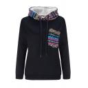 Winter Popular Tribal Pattern Insert Chest Pocket Long Sleeve Thick Drawstring Hoodie