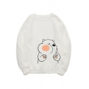Cute Casual Long Sleeve Crew Neck Bear Pattern Loose Pullover Sweatshirt for Preppy Girls
